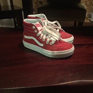 Kids Vans Red high tops Skateboarding Shoes